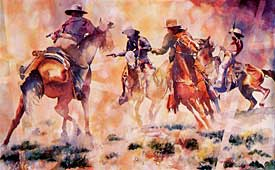 Box Canyon Ambush, 15 1/8 x 24 1/2, by Linda Loeschen