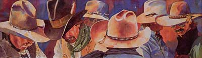 Cowboy Hats Everywhere, 9  x 30, by Linda Loeschen