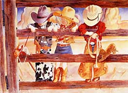 Hang'n On, Hang'n Out, 12 x 16, by Linda Loeschen