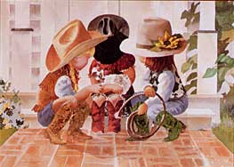 Little Buckle Bunnies, 12 x 16, by Linda Loeschen